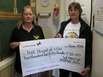 Bat Hospital I.O.W. receive cheque from Wetnose
