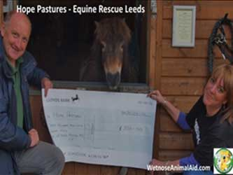 Hope Pastures Equine Rescue, Leeds receive cheque from Wetnose