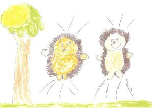 Child's drawing of hedgehogs
