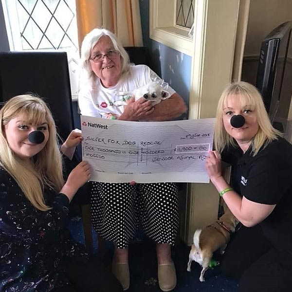 Silver Fox Dog Rescue receiving cheque from Wetnose